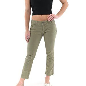 GENERRA Olive Cotton Ripped Cropped Pants #BN20